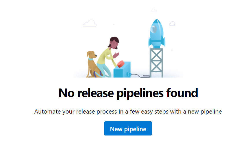 No release pipelines found  Automate your release process in a few easy steps with a new pipeline  New pipeline