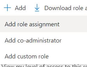 Machine generated alternative text: -k Add Download role E  Add role assignment  Add co-administrator  Add custom role