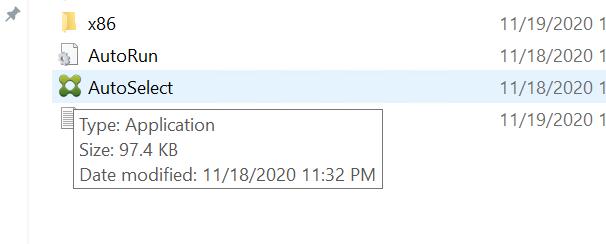 AutoRun  AutoSelect  Type: Application  Size: KB  Date modified: 11/18/2020 11:32 PM  11/19/2020 1  11/18/2020 1  11/19/2020 1