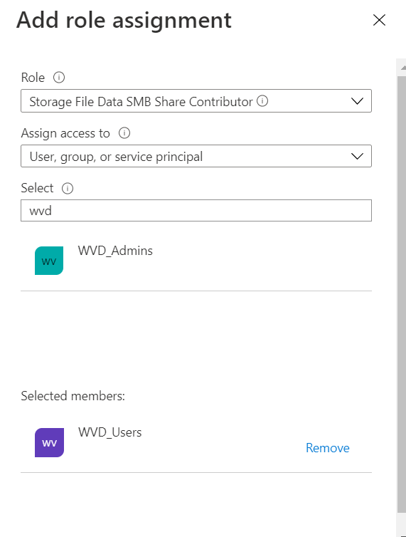 Machine generated alternative text: Role Q)  Select a role  Allows for read, write, and delete access in Azure Storage file shares over SMB  Storage File Data SMB Share Contributor Q)  Storage File Data SMB Share Elevated Contributor O  Storage File Data SMB Share Reader O  ADSyncAdmins