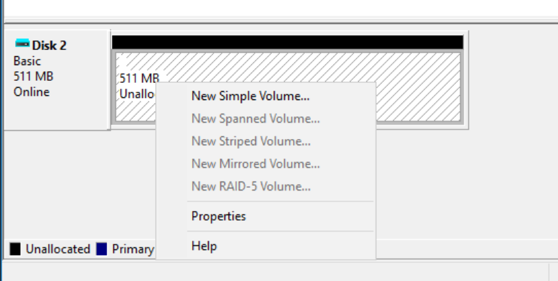 """511 MB  Unallocated Primary  New Simple  New Spanned Volume.""""  New Striped Volume"""".  New Mirrored Volume.""""  New RAID- 5 Volume.  Help"""